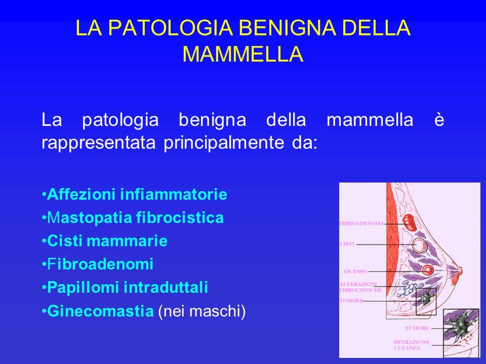 LA PATOLOGIA BENIGNA DELLA MAMMELLA La patologia benigna della mammella è rappresentata principalmente da: Affezioni infiammatorie Mastopatia fibrocis