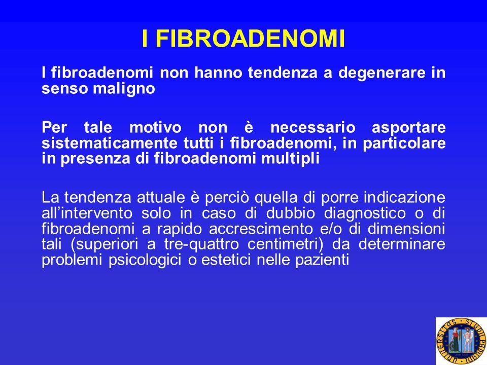 I FIBROADENOMI I fibroadenomi non hanno tendenza a degenerare in senso maligno Per tale motivo non è necessario asportare sistematicamente tutti i fib