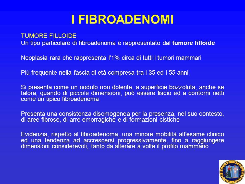I FIBROADENOMI TUMORE FILLOIDE Un tipo particolare di fibroadenoma è rappresentato dal tumore filloide Neoplasia rara che rappresenta l1% circa di tut