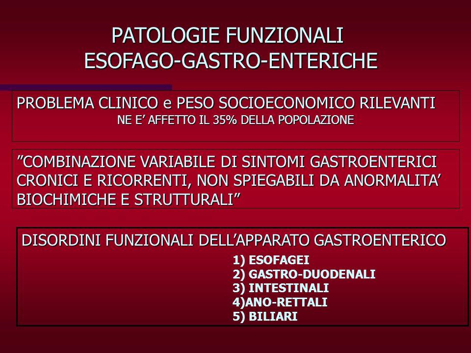 PATOLOGIE FUNZIONALI ESOFAGO-GASTRO-ENTERICHE PROBLEMA CLINICO e PESO SOCIOECONOMICO RILEVANTI COMBINAZIONE VARIABILE DI SINTOMI GASTROENTERICI CRONIC