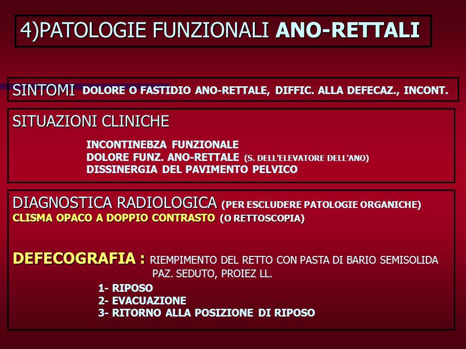 4)PATOLOGIE FUNZIONALI ANO-RETTALI SINTOMI DOLORE O FASTIDIO ANO-RETTALE, DIFFIC. ALLA DEFECAZ., INCONT. SITUAZIONI CLINICHE INCONTINEBZA FUNZIONALE D