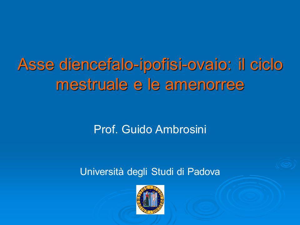 Asse diencefalo-ipofisi-ovaio: il ciclo mestruale e le amenorree Prof. Guido Ambrosini Università degli Studi di Padova