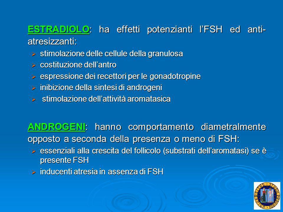 ESTRADIOLO: ha effetti potenzianti lFSH ed anti- atresizzanti: stimolazione delle cellule della granulosa stimolazione delle cellule della granulosa c