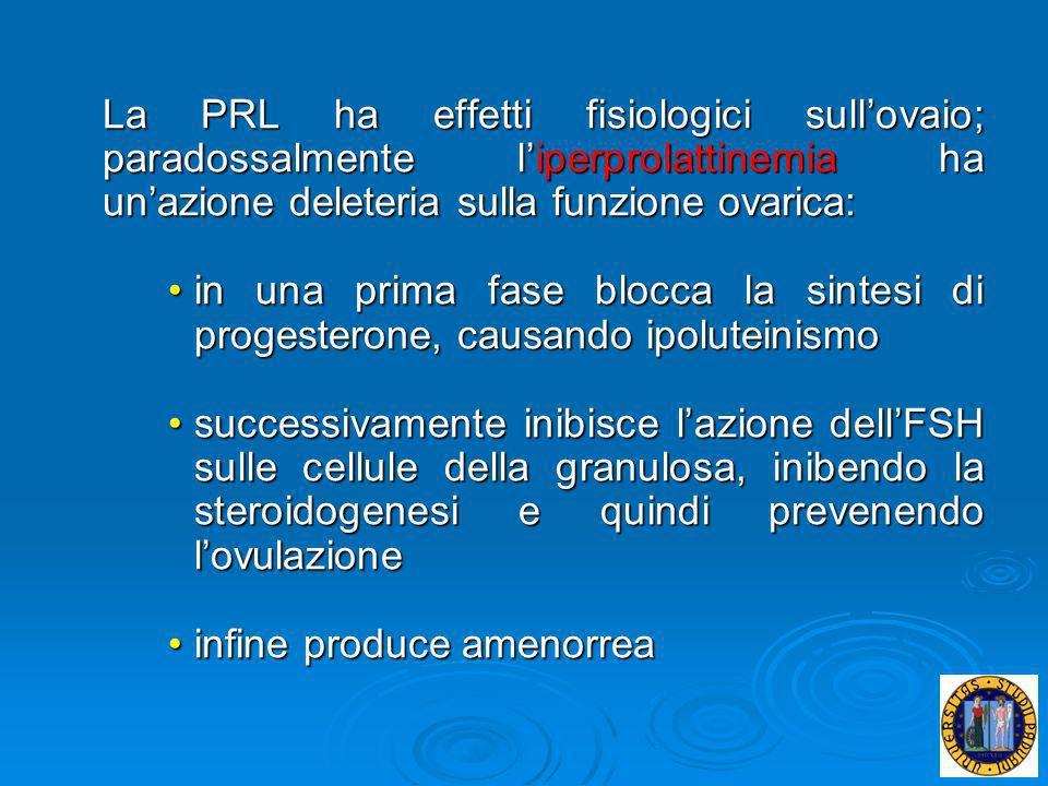 La PRL ha effetti fisiologici sullovaio; paradossalmente liperprolattinemia ha unazione deleteria sulla funzione ovarica: in una prima fase blocca la