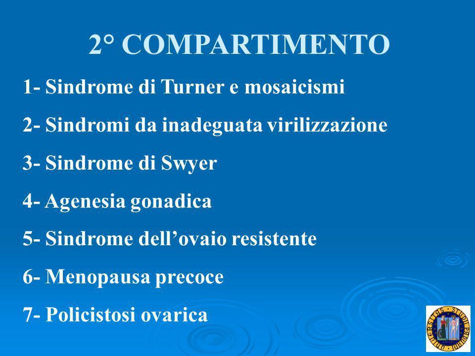 2° COMPARTIMENTO 1- Sindrome di Turner e mosaicismi 2- Sindromi da inadeguata virilizzazione 3- Sindrome di Swyer 4- Agenesia gonadica 5- Sindrome del