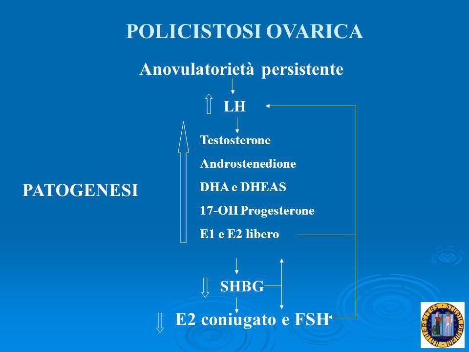 PATOGENESI Anovulatorietà persistente SHBG E2 coniugato e FSH LH Testosterone Androstenedione DHA e DHEAS 17-OH Progesterone E1 e E2 libero POLICISTOS