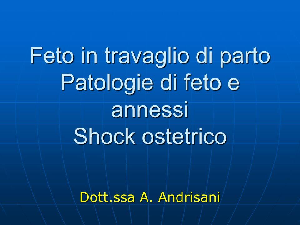 Feto in travaglio di parto Patologie di feto e annessi Shock ostetrico Dott.ssa A. Andrisani