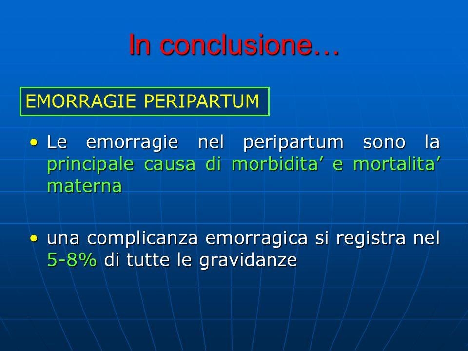 In conclusione… Le emorragie nel peripartum sono la principale causa di morbidita e mortalita maternaLe emorragie nel peripartum sono la principale causa di morbidita e mortalita materna una complicanza emorragica si registra nel 5-8% di tutte le gravidanzeuna complicanza emorragica si registra nel 5-8% di tutte le gravidanze EMORRAGIE PERIPARTUM