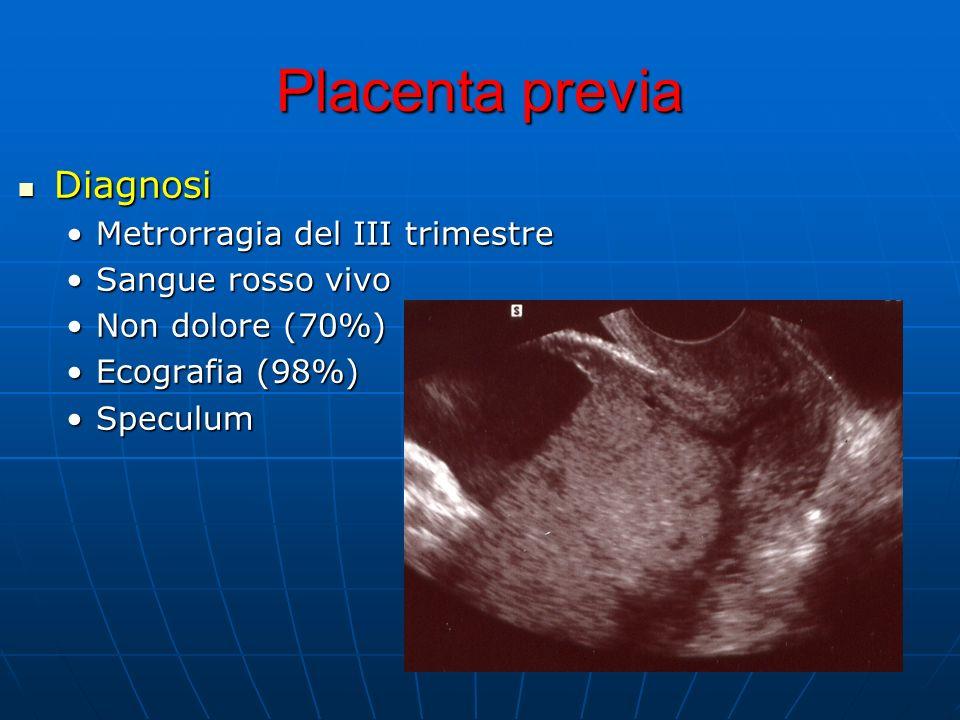 Placenta previa Diagnosi Diagnosi Metrorragia del III trimestreMetrorragia del III trimestre Sangue rosso vivoSangue rosso vivo Non dolore (70%)Non do