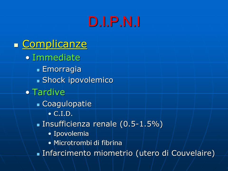 D.I.P.N.I Complicanze Complicanze ImmediateImmediate Emorragia Emorragia Shock ipovolemico Shock ipovolemico TardiveTardive Coagulopatie Coagulopatie C.I.D.C.I.D.