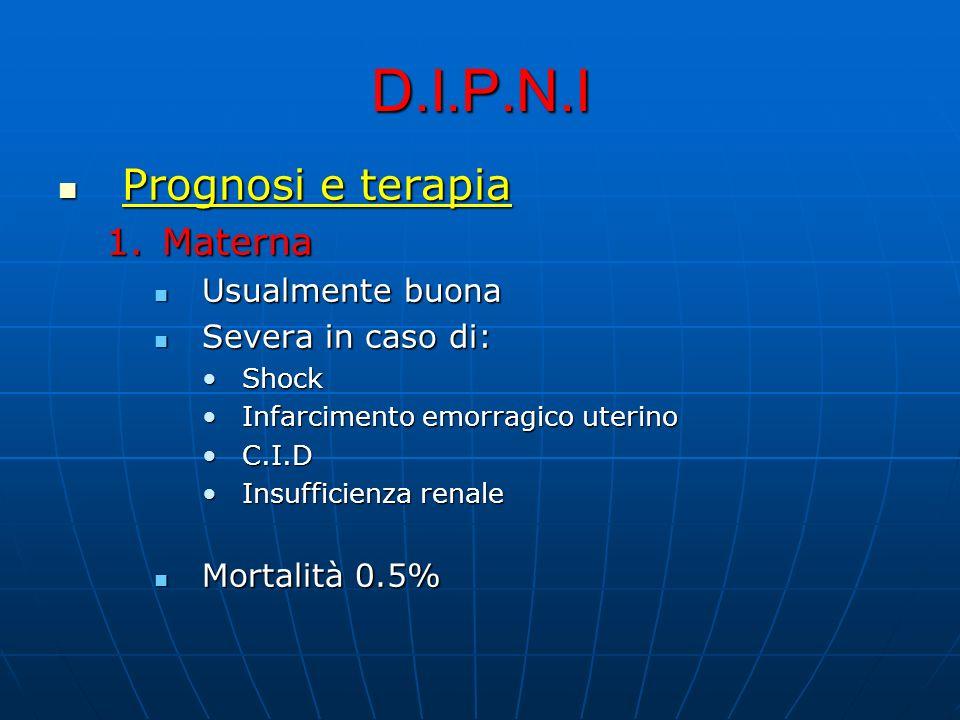 D.I.P.N.I Prognosi e terapia Prognosi e terapia 1.Materna Usualmente buona Usualmente buona Severa in caso di: Severa in caso di: ShockShock Infarcime