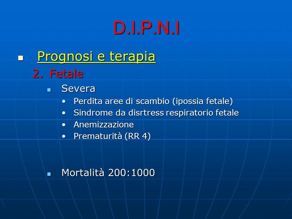 D.I.P.N.I Prognosi e terapia Prognosi e terapia 2.Fetale Severa Severa Perdita aree di scambio (ipossia fetale)Perdita aree di scambio (ipossia fetale) Sindrome da disrtress respiratorio fetaleSindrome da disrtress respiratorio fetale AnemizzazioneAnemizzazione Prematurità (RR 4)Prematurità (RR 4) Mortalità 200:1000 Mortalità 200:1000