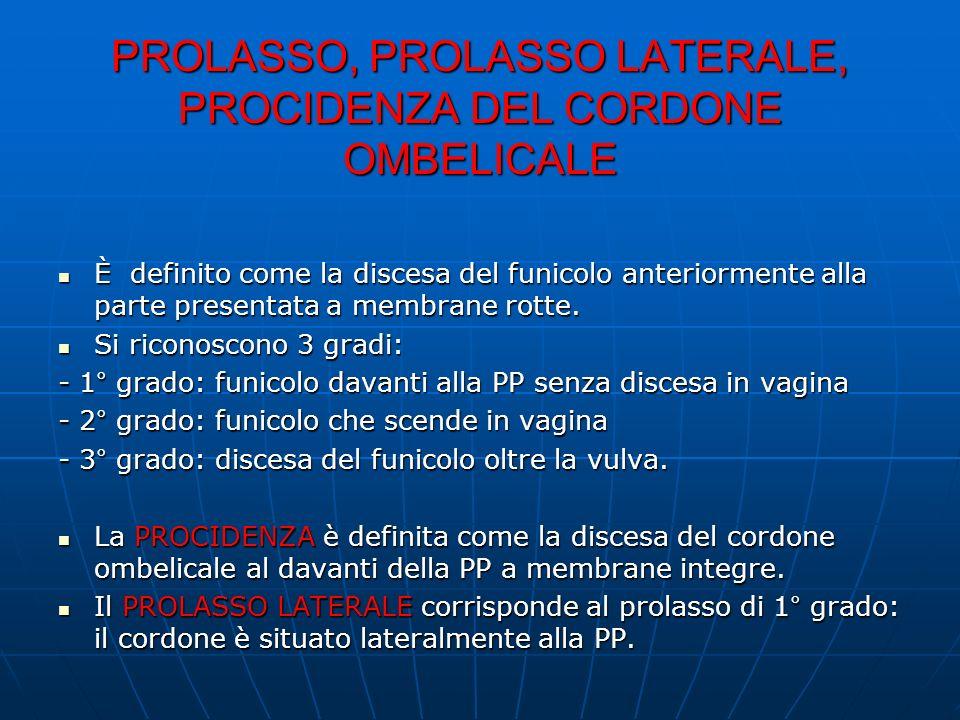 PROLASSO, PROLASSO LATERALE, PROCIDENZA DEL CORDONE OMBELICALE È definito come la discesa del funicolo anteriormente alla parte presentata a membrane