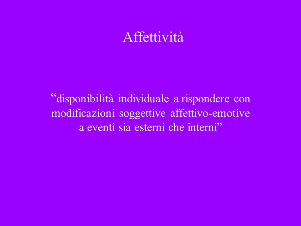 Affettività disponibilità individuale a rispondere con modificazioni soggettive affettivo-emotive a eventi sia esterni che interni