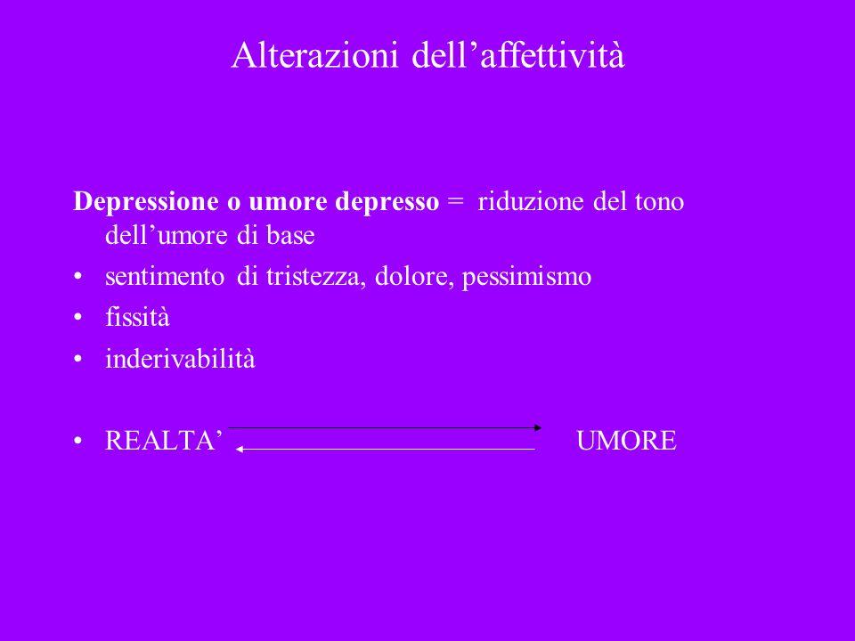 Alterazioni dellaffettività Depressione o umore depresso = riduzione del tono dellumore di base sentimento di tristezza, dolore, pessimismo fissità in