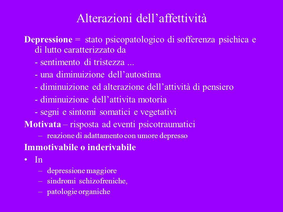 Alterazioni dellaffettività Depressione = stato psicopatologico di sofferenza psichica e di lutto caratterizzato da - sentimento di tristezza... - una