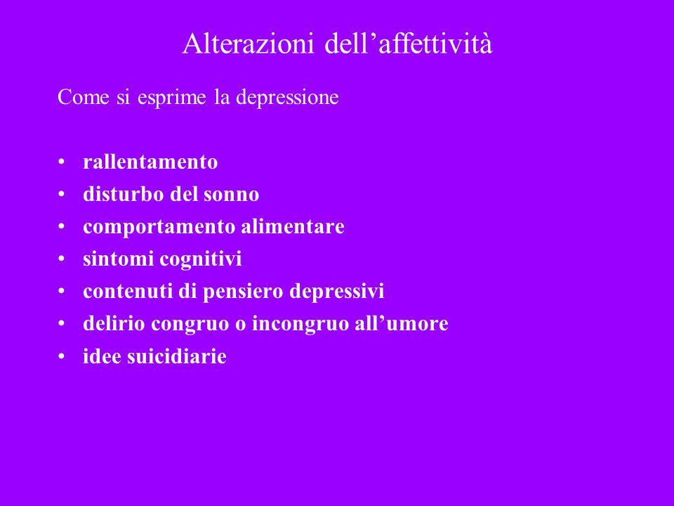 Alterazioni dellaffettività Come si esprime la depressione rallentamento disturbo del sonno comportamento alimentare sintomi cognitivi contenuti di pe
