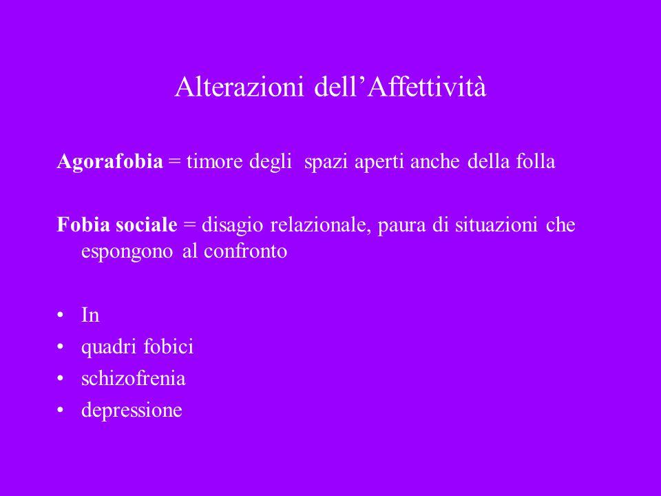 Alterazioni dellAffettività Agorafobia = timore degli spazi aperti anche della folla Fobia sociale = disagio relazionale, paura di situazioni che espo