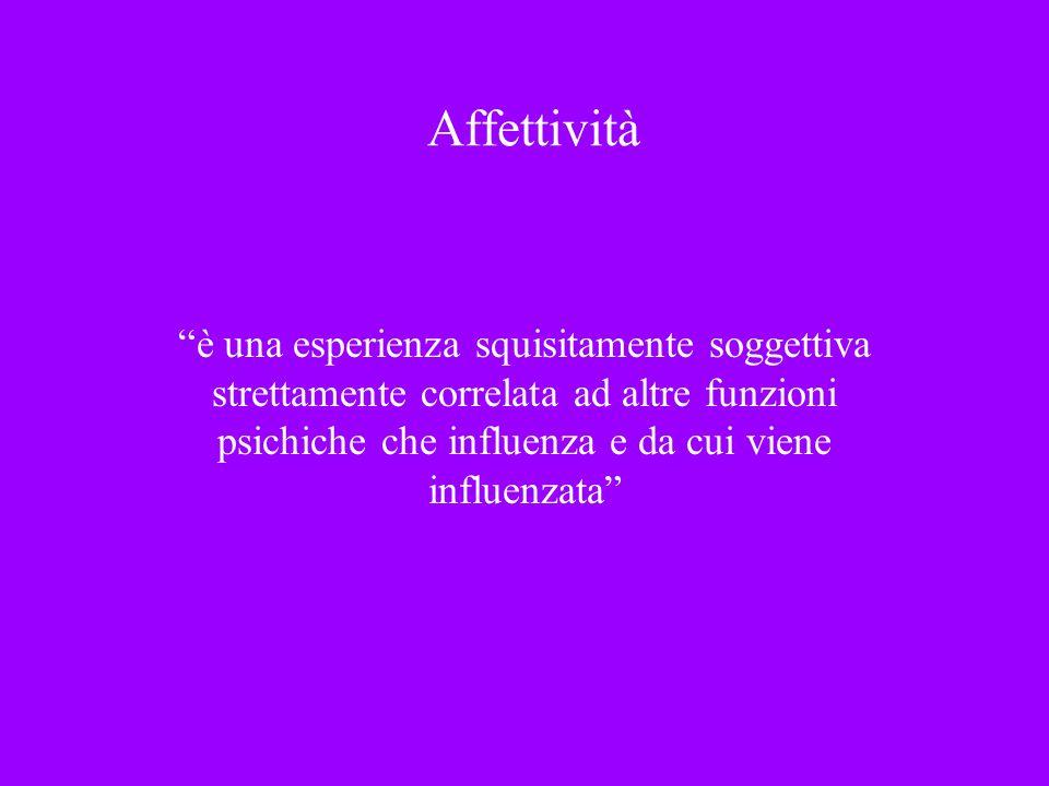 Affettività è una esperienza squisitamente soggettiva strettamente correlata ad altre funzioni psichiche che influenza e da cui viene influenzata