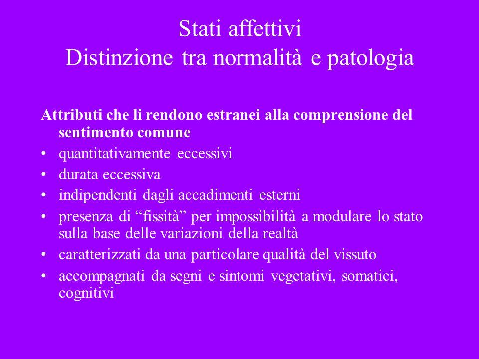 Stati affettivi Distinzione tra normalità e patologia Attributi che li rendono estranei alla comprensione del sentimento comune quantitativamente ecce