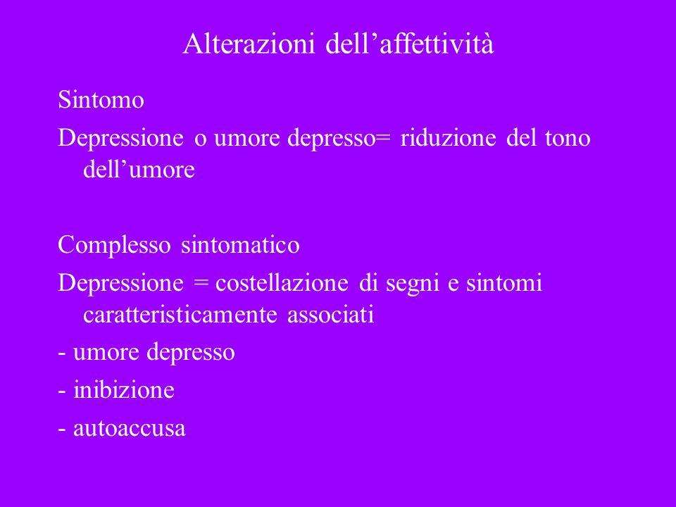 Alterazioni dellaffettività Sintomo Depressione o umore depresso= riduzione del tono dellumore Complesso sintomatico Depressione = costellazione di se