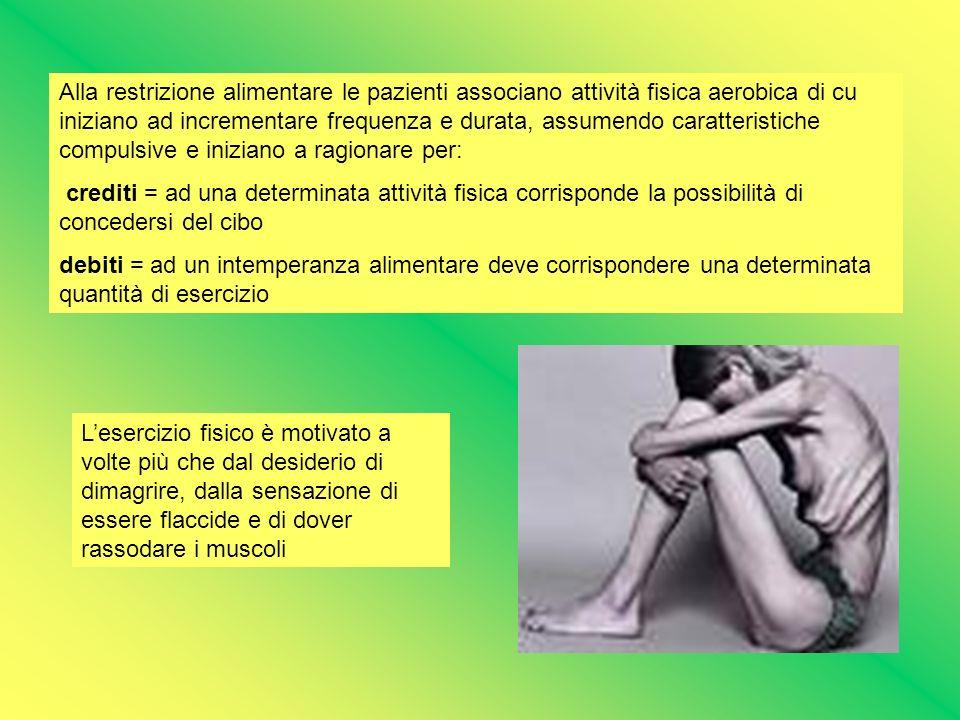 Alla restrizione alimentare le pazienti associano attività fisica aerobica di cu iniziano ad incrementare frequenza e durata, assumendo caratteristich