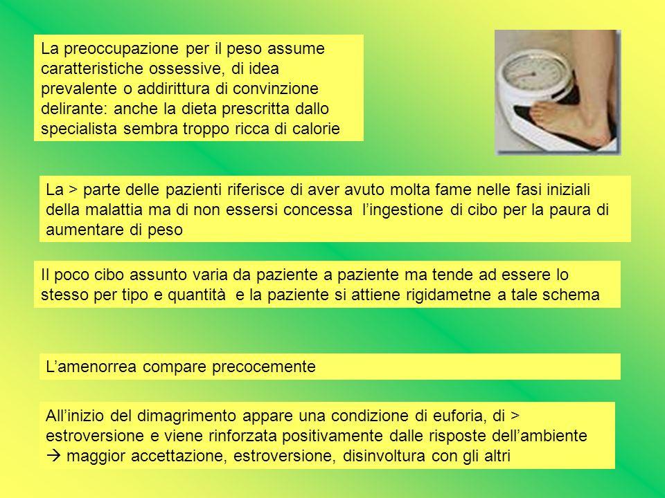 La preoccupazione per il peso assume caratteristiche ossessive, di idea prevalente o addirittura di convinzione delirante: anche la dieta prescritta d