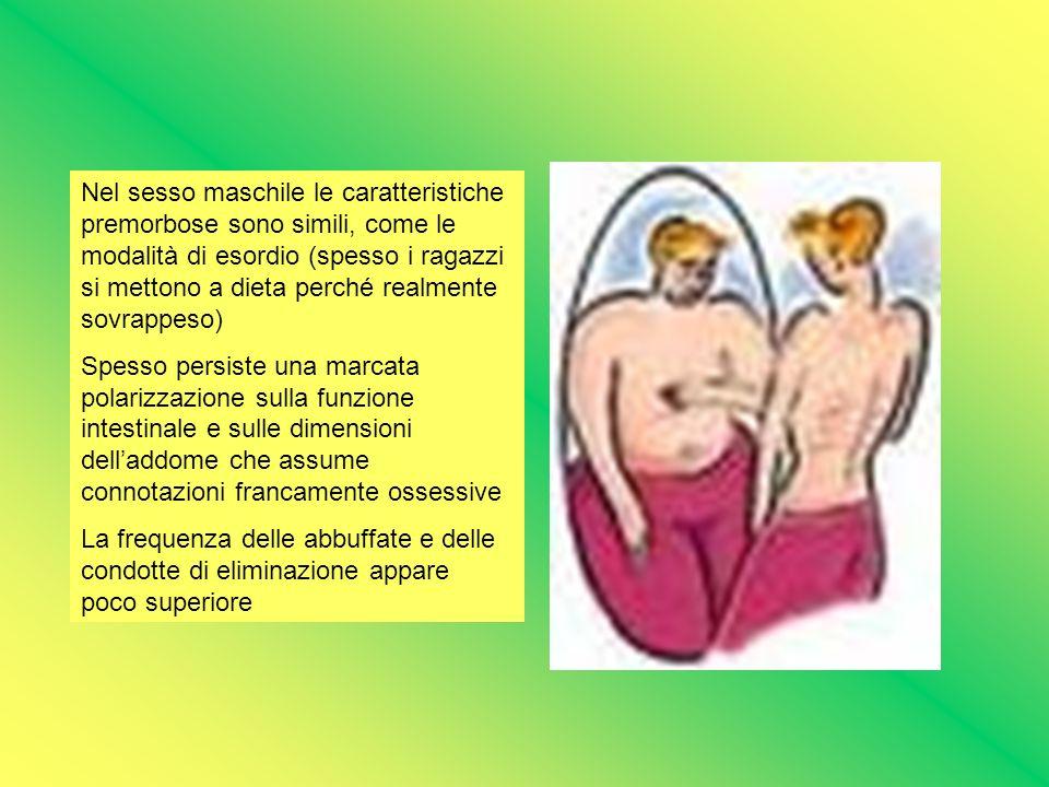 Nel sesso maschile le caratteristiche premorbose sono simili, come le modalità di esordio (spesso i ragazzi si mettono a dieta perché realmente sovrap