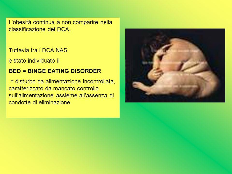 Lobesità continua a non comparire nella classificazione dei DCA, Tuttavia tra i DCA NAS è stato individuato il BED = BINGE EATING DISORDER = disturbo