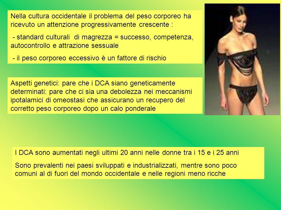 Nella cultura occidentale il problema del peso corporeo ha ricevuto un attenzione progressivamente crescente : - standard culturali di magrezza = succ