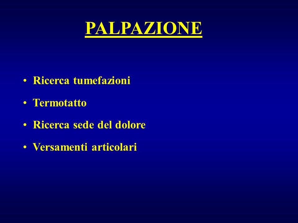 Ricerca tumefazioni Termotatto Ricerca sede del dolore Versamenti articolari PALPAZIONE