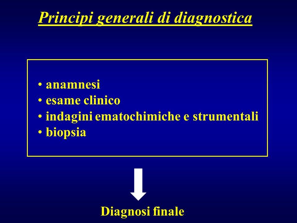 Principi generali di diagnostica anamnesi esame clinico indagini ematochimiche e strumentali biopsia Diagnosi finale