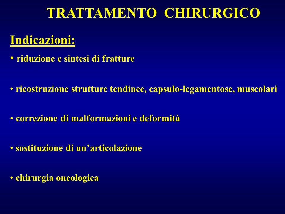 TRATTAMENTO CHIRURGICO Indicazioni: riduzione e sintesi di fratture ricostruzione strutture tendinee, capsulo-legamentose, muscolari correzione di mal