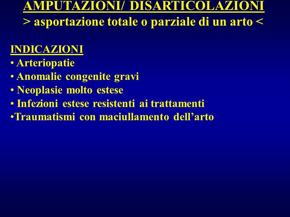 AMPUTAZIONI/ DISARTICOLAZIONI > asportazione totale o parziale di un arto < INDICAZIONI Arteriopatie Anomalie congenite gravi Neoplasie molto estese I