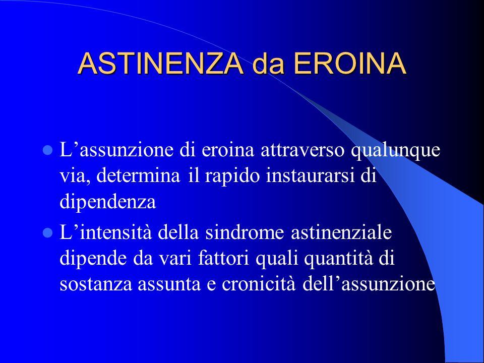 ASTINENZA da EROINA Lassunzione di eroina attraverso qualunque via, determina il rapido instaurarsi di dipendenza Lintensità della sindrome astinenzia