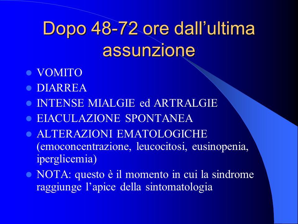 Dopo 48-72 ore dallultima assunzione VOMITO DIARREA INTENSE MIALGIE ed ARTRALGIE EIACULAZIONE SPONTANEA ALTERAZIONI EMATOLOGICHE (emoconcentrazione, l