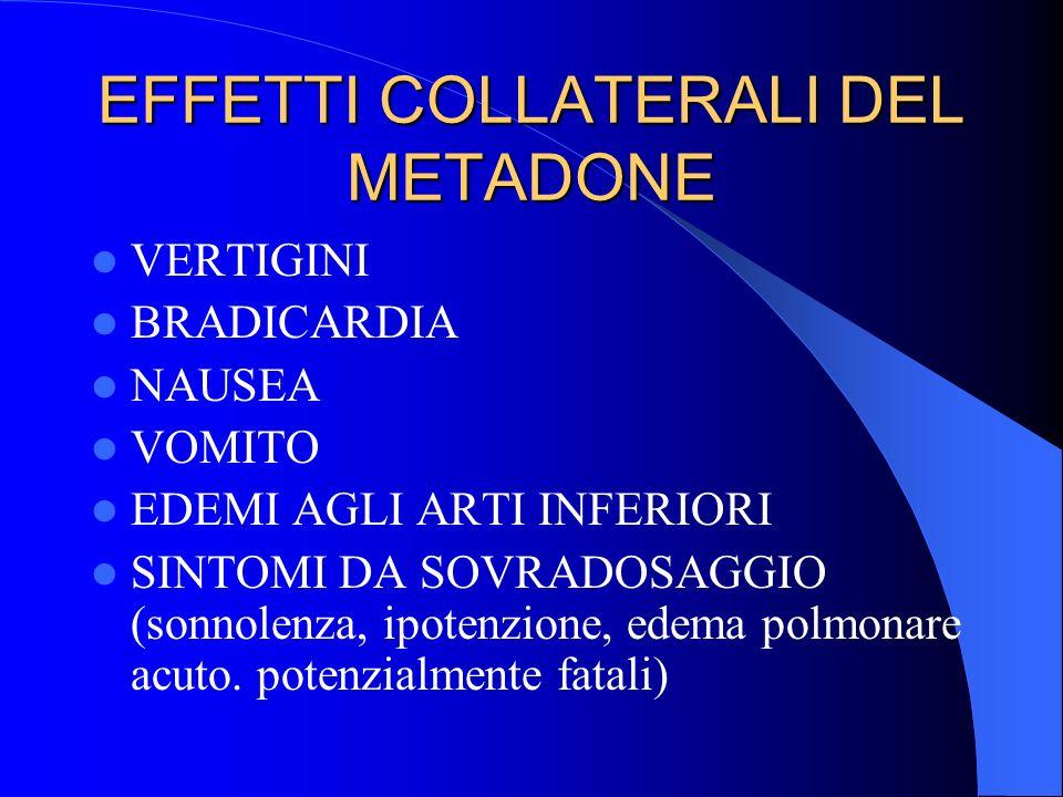 EFFETTI COLLATERALI DEL METADONE VERTIGINI BRADICARDIA NAUSEA VOMITO EDEMI AGLI ARTI INFERIORI SINTOMI DA SOVRADOSAGGIO (sonnolenza, ipotenzione, edem