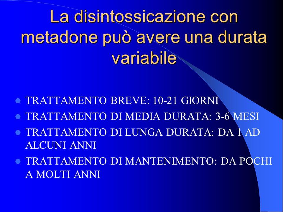 La disintossicazione con metadone può avere una durata variabile TRATTAMENTO BREVE: 10-21 GIORNI TRATTAMENTO DI MEDIA DURATA: 3-6 MESI TRATTAMENTO DI