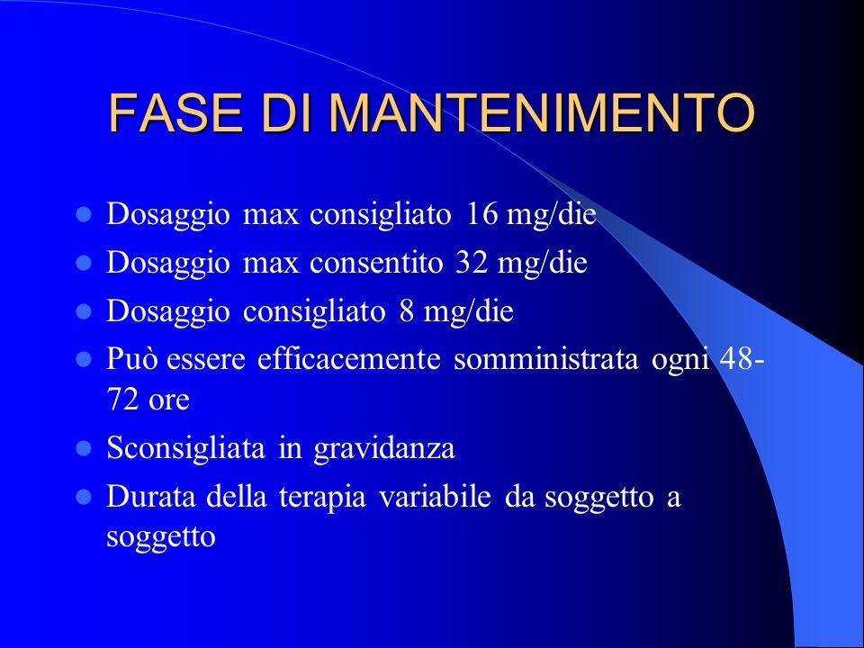 FASE DI MANTENIMENTO Dosaggio max consigliato 16 mg/die Dosaggio max consentito 32 mg/die Dosaggio consigliato 8 mg/die Può essere efficacemente sommi