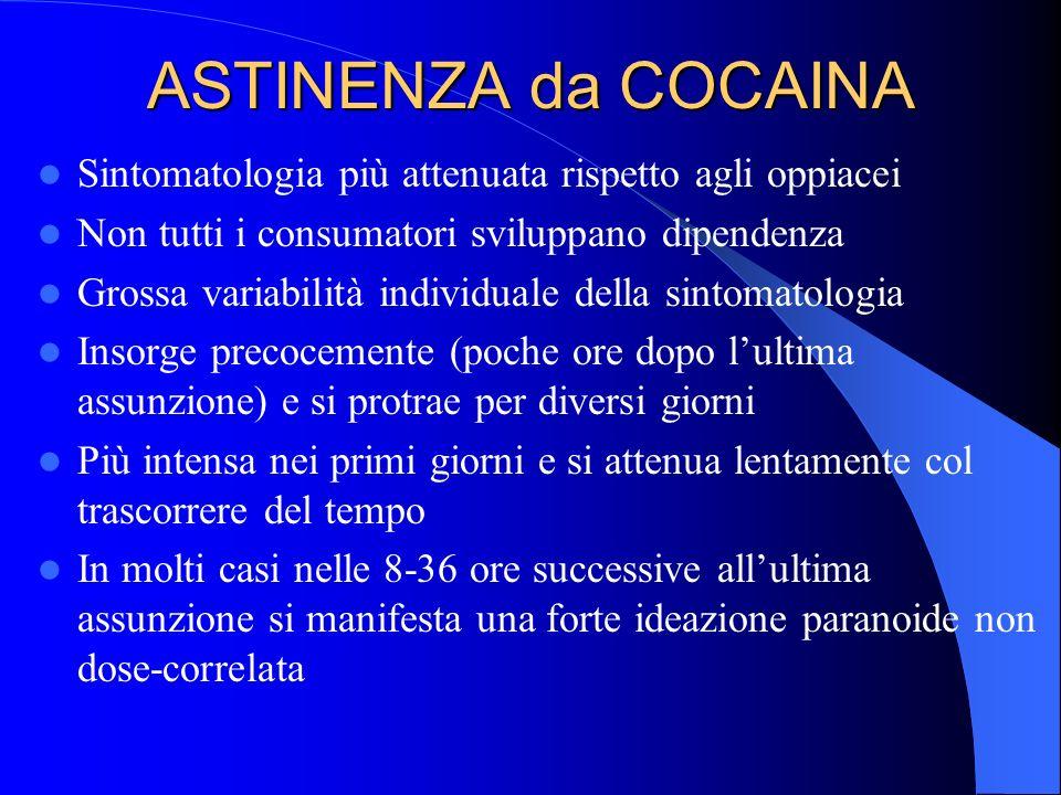 ASTINENZA da COCAINA Sintomatologia più attenuata rispetto agli oppiacei Non tutti i consumatori sviluppano dipendenza Grossa variabilità individuale