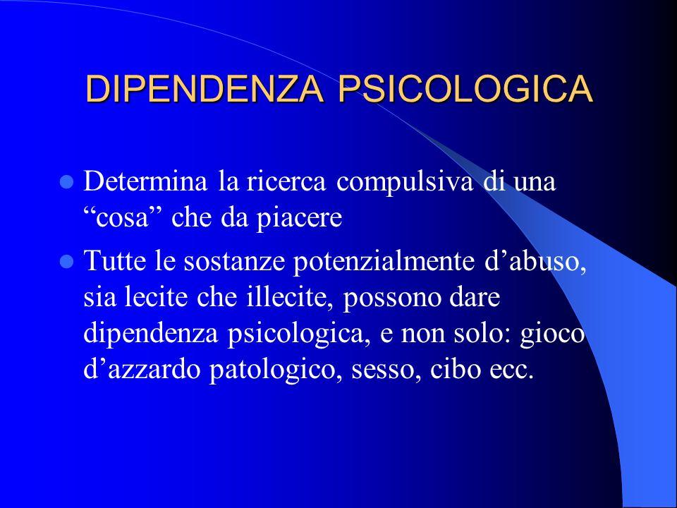 DIPENDENZA FISICA Determina lo sviluppo di una sindrome astinenziale con una sintomatologia fisica anche grave e/o letale.