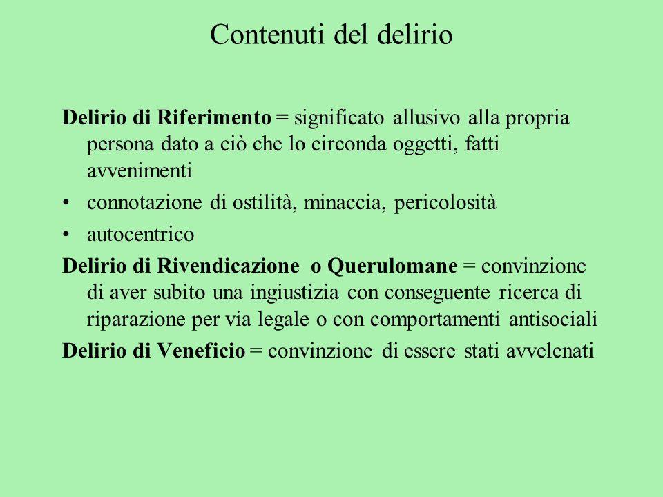 Contenuti del delirio Delirio di Riferimento = significato allusivo alla propria persona dato a ciò che lo circonda oggetti, fatti avvenimenti connota