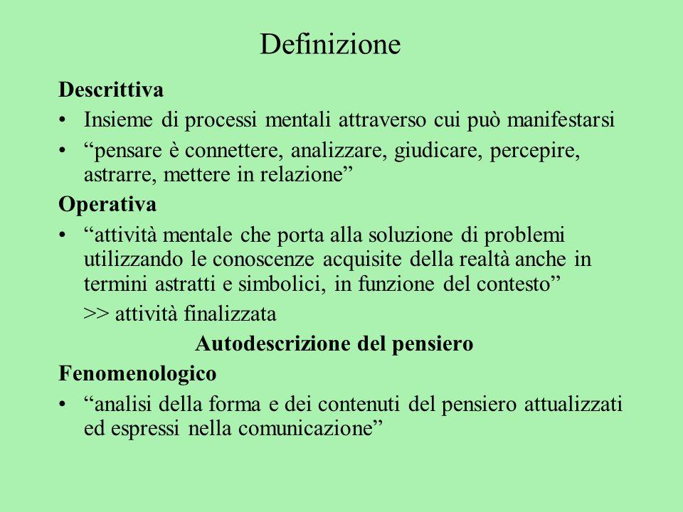 Definizione Descrittiva Insieme di processi mentali attraverso cui può manifestarsi pensare è connettere, analizzare, giudicare, percepire, astrarre,