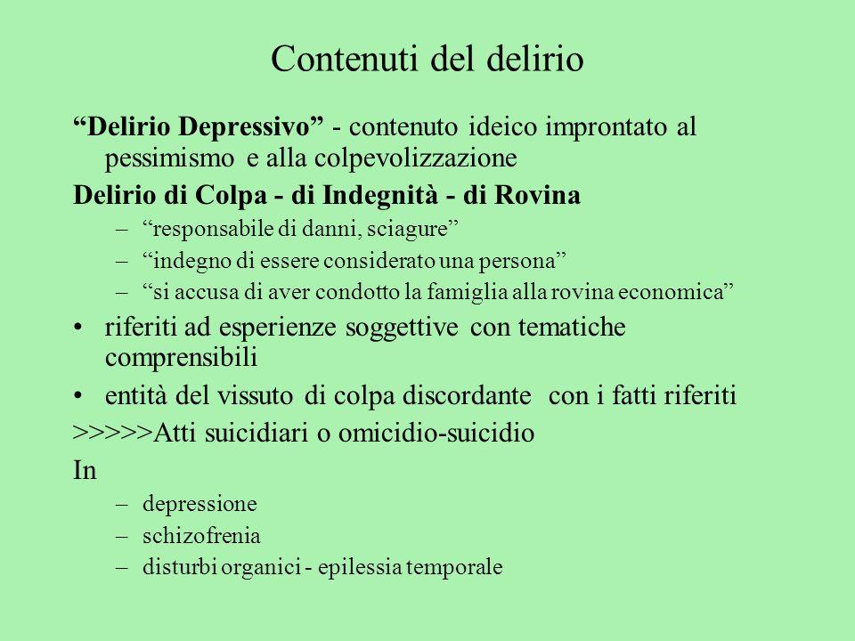 Contenuti del delirio Delirio Depressivo - contenuto ideico improntato al pessimismo e alla colpevolizzazione Delirio di Colpa - di Indegnità - di Rov