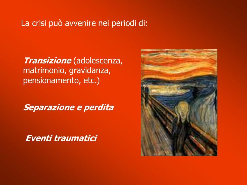 La crisi può avvenire nei periodi di: Separazione e perdita Eventi traumatici Transizione (adolescenza, matrimonio, gravidanza, pensionamento, etc.)