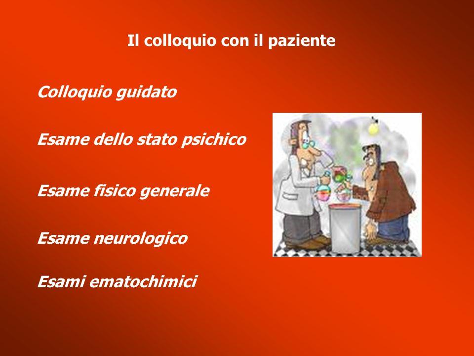 Il colloquio con il paziente Colloquio guidato Esame dello stato psichico Esame fisico generale Esame neurologico Esami ematochimici
