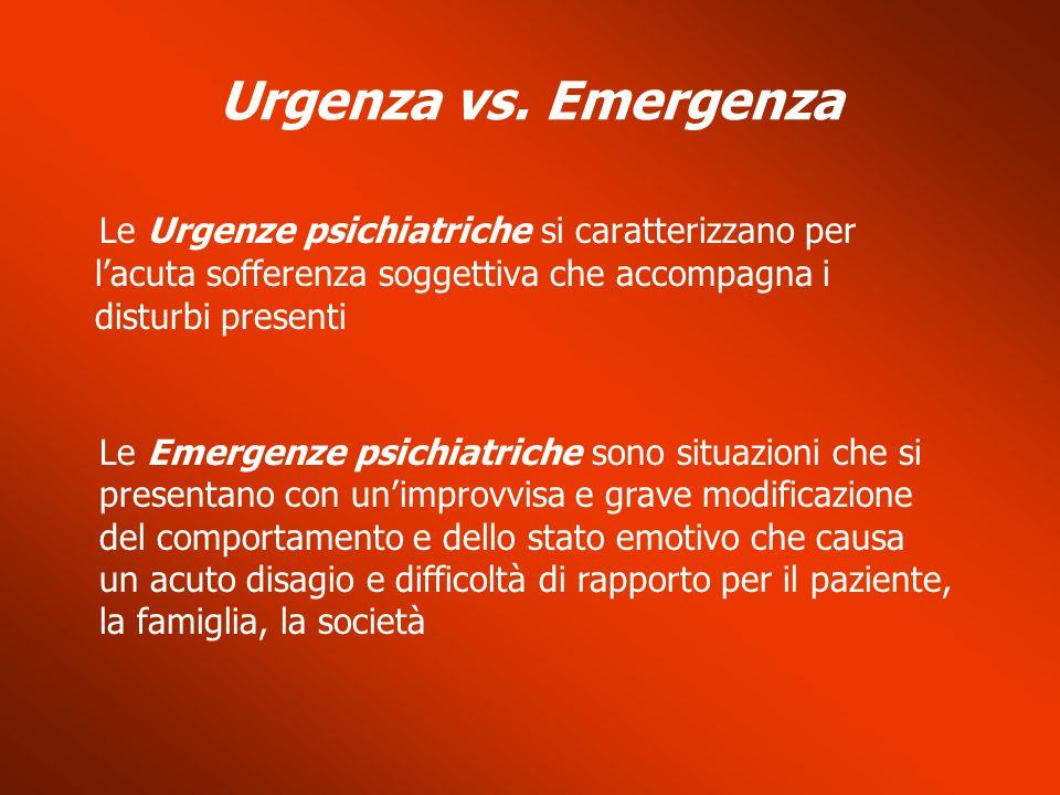 Urgenza vs. Emergenza Le Urgenze psichiatriche si caratterizzano per lacuta sofferenza soggettiva che accompagna i disturbi presenti Le Emergenze psic