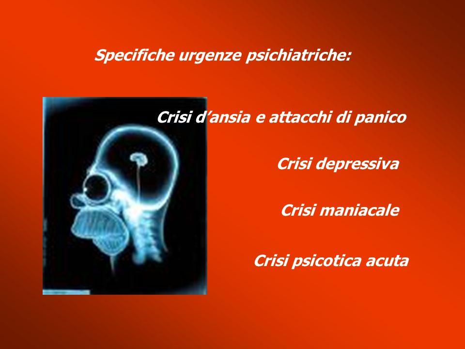 Specifiche urgenze psichiatriche: Crisi dansia e attacchi di panico Crisi depressiva Crisi maniacale Crisi psicotica acuta