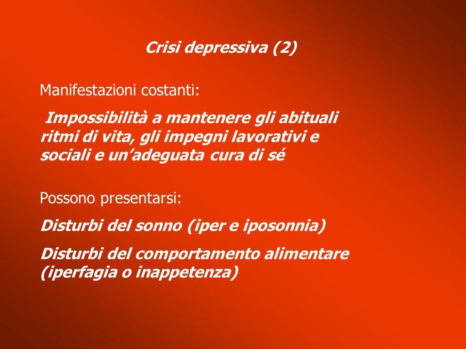 Crisi depressiva (2) Manifestazioni costanti: Impossibilità a mantenere gli abituali ritmi di vita, gli impegni lavorativi e sociali e unadeguata cura