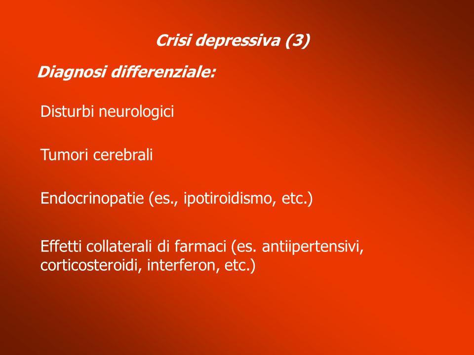 Diagnosi differenziale: Disturbi neurologici Endocrinopatie (es., ipotiroidismo, etc.) Effetti collaterali di farmaci (es. antiipertensivi, corticoste